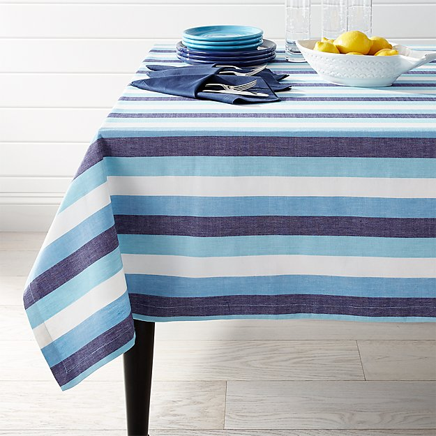 Seaside Blue Striped Tablecloth