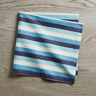 Seaside Blue Striped Dinner Napkin