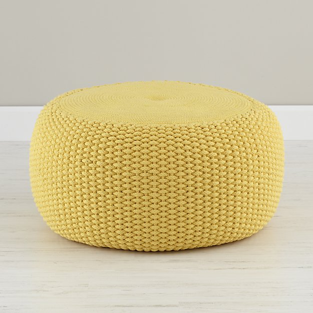 Yellow braided pouf in bean bag poufs reviews crate for Crate and barrel pouf