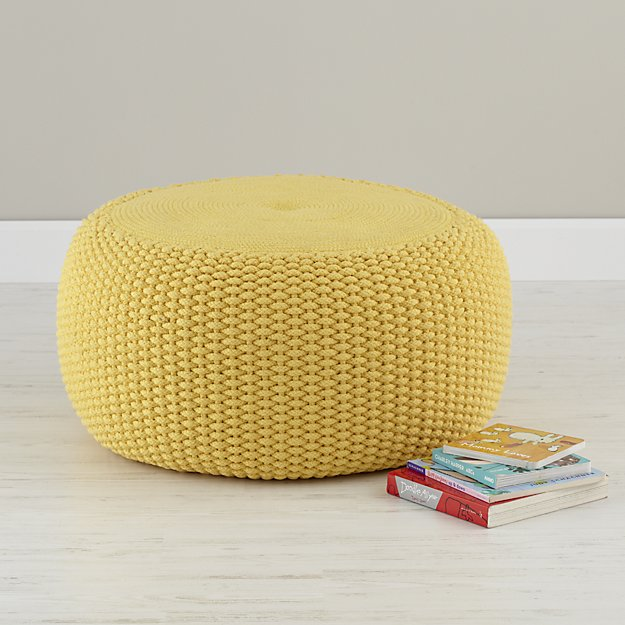 yellow braided pouf in bean bag poufs reviews crate and barrel. Black Bedroom Furniture Sets. Home Design Ideas