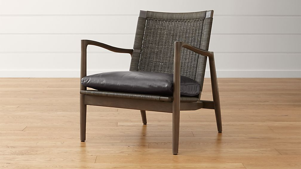 Sebago Midcentury Rattan Chair with Leather Cushion - Image 1 of 8