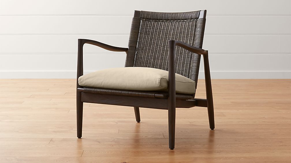 Sebago Midcentury Rattan Chair with Fabric Cushion - Image 1 of 11