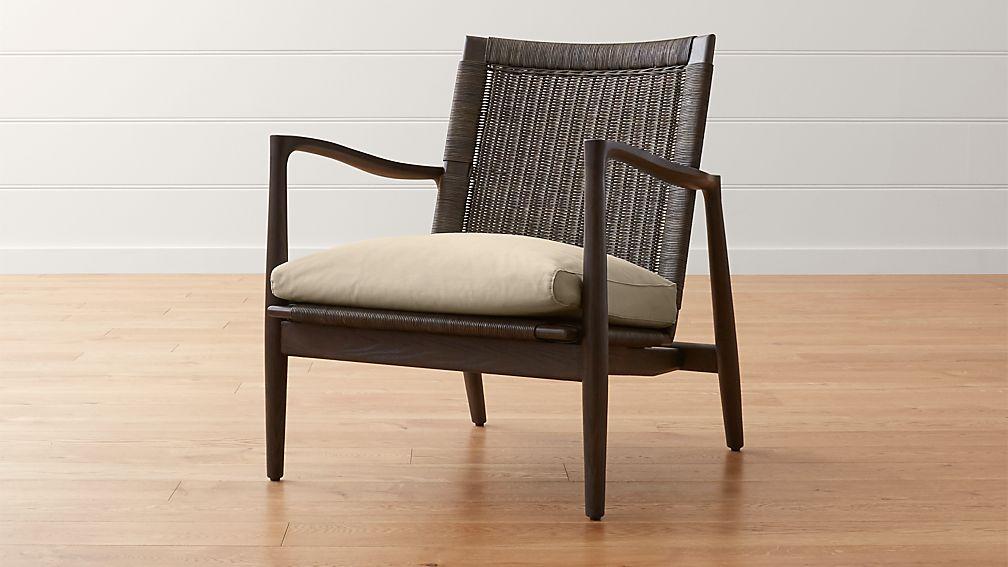 Sebago Midcentury Rattan Chair With Fabric Cushion