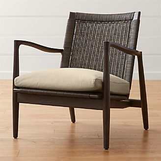 Sebago Midcentury Rattan Chair With Fabric Cushion