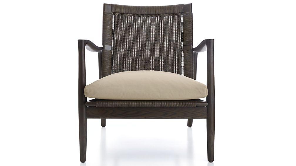 Sebago Midcentury Rattan Chair With Fabric Cushion In