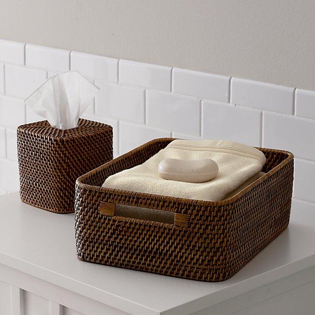 Sedona honey rattan vanity tray reviews crate and barrel - Crate and barrel bathroom vanities ...