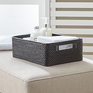sedona black low open tote - Bathroom Baskets