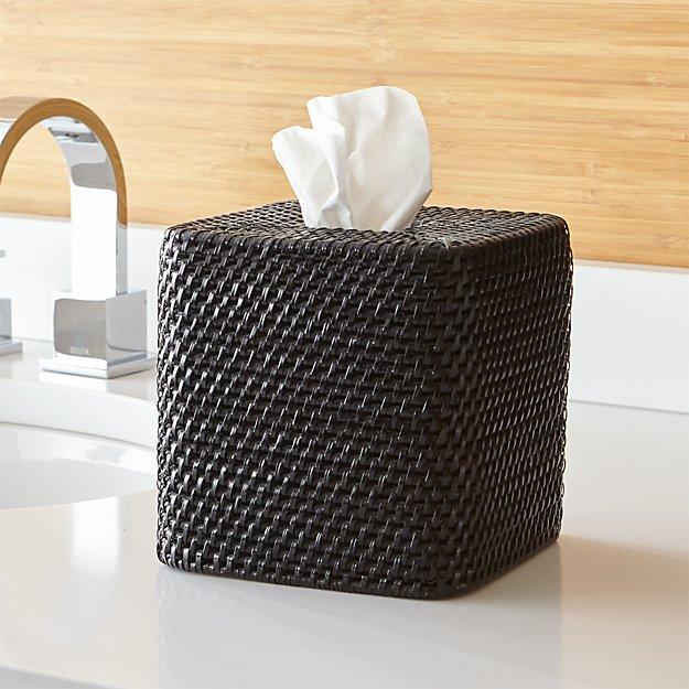 Sedona Square Black Tissue Box Cover Crate And Barrel