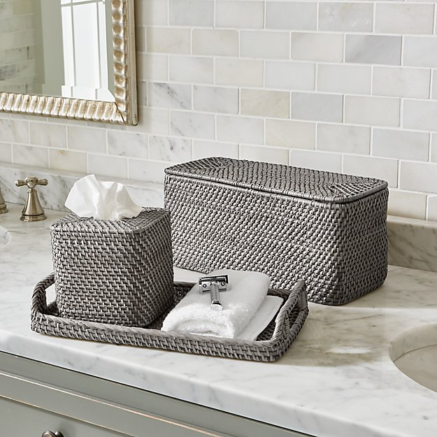 Sedona grey bath accessories crate and barrel for Grey and white bathroom accessories
