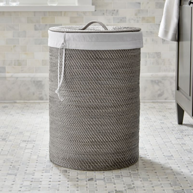 Sedona Grey Hamper With Liner Crate And Barrel