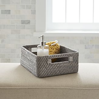 sedona grey low open tote - Bathroom Baskets