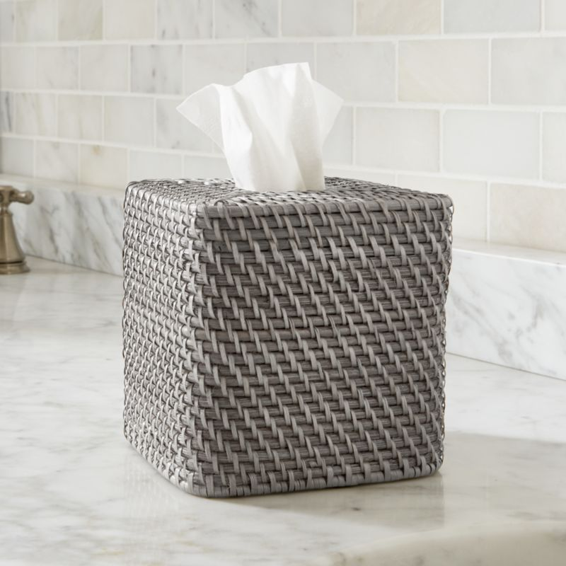 Rounded square dispenses tissues with loads of texture, handwoven of sturdy rattan and finished in warm grey.<br /><br /><NEWTAG/><ul><li>Handcrafted</li><li>100% rattan</li><li>Water-based, non-toxic grey lacquer finish</li><li>Made in The Philippines</li></ul>