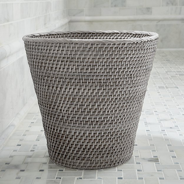Sedona grey bathroom trash can crate and barrel for Waste baskets for bathroom