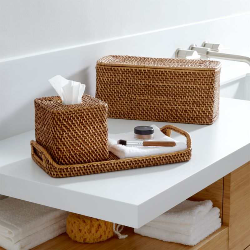 Sedona honey bath accessories crate and barrel for Looking for bathroom accessories