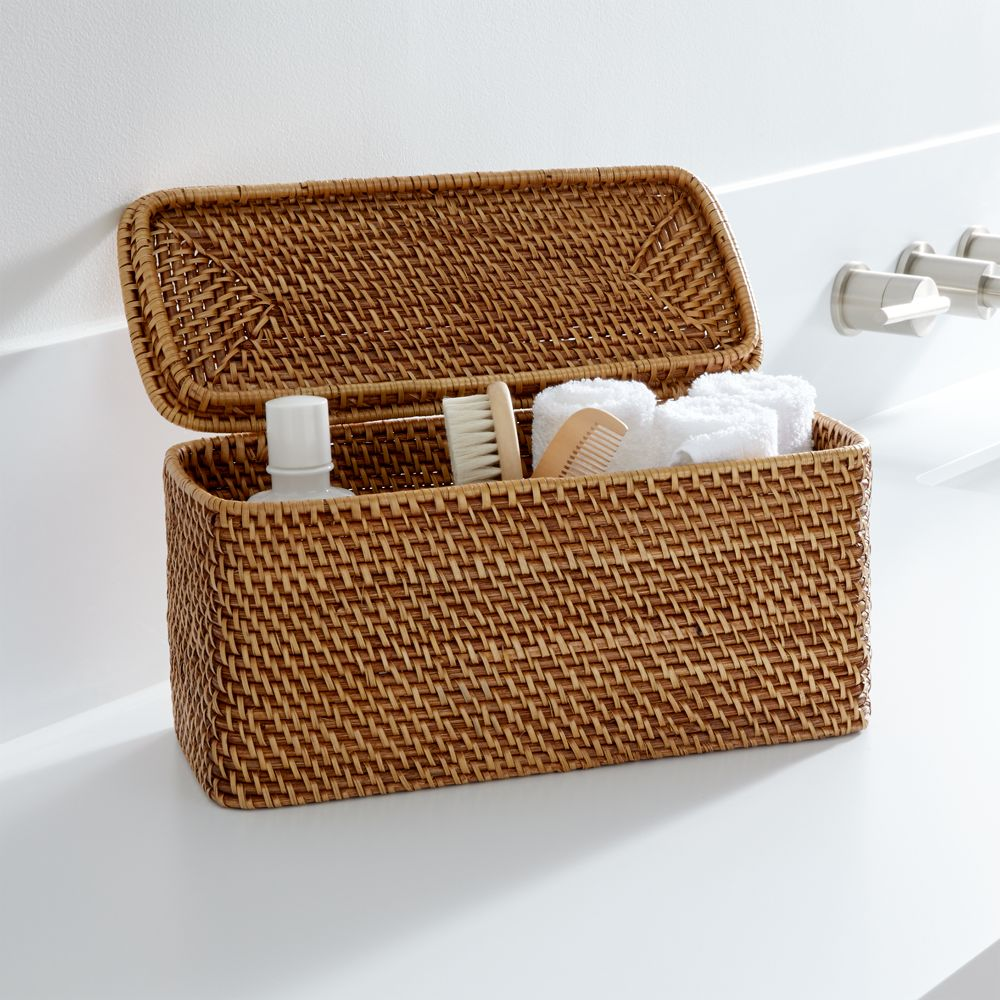 Sedona Honey Lidded Rectangular Tote - Crate and Barrel