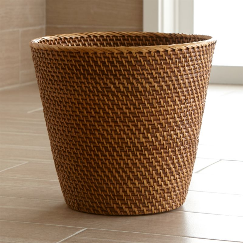 bathroom wastebasket.  Sedona Honey Rattan Waste Basket Crate and Barrel