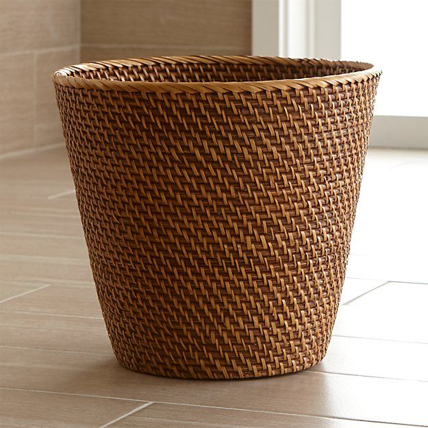 sedona honey rattan waste basket reviews crate and barrel