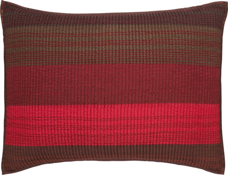 Layered in the hues of a sunlit canyon, our Sedona bed linens are quilted in broad horizontal stripes overlaid with contrasting hand-guided embroidery for added depth and dimension. Lustrous sham reverses to earthy grey-brown cotton voile. Bed pillows also available.<br /><br /><NEWTAG/><ul><li>100% polyester front</li><li>100% cotton voile back</li><li>100% cotton fill</li><li>Dry clean</li><li>Made in India</li></ul><br />
