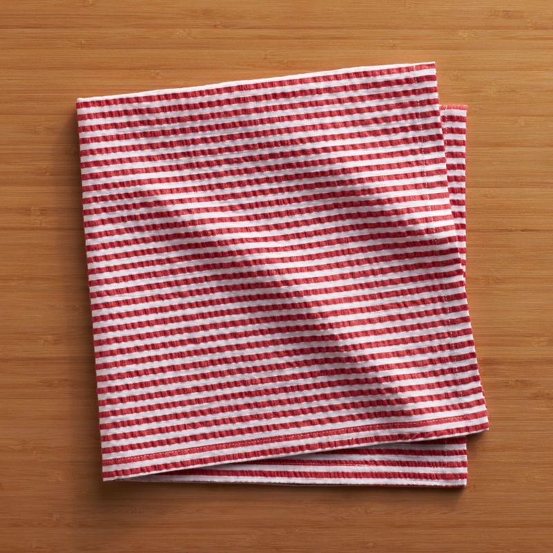 Yarn-dyed cotton seersucker napkin invokes the breezy summer season all year long, adding texture to your tablescape.<br /><br /><NEWTAG/><ul><li>100% yarn-dyed cotton seersucker</li><li>Do not dry clean or bleach</li><li>Machine wash cold, tumble dry; warm iron as needed</li><li>Made in India</li></ul>
