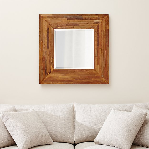 Seguro Reclaimed Wood Square Wall Mirror