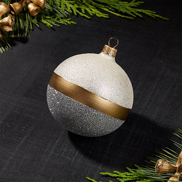 Selina Ball Ornament Silver with Gold