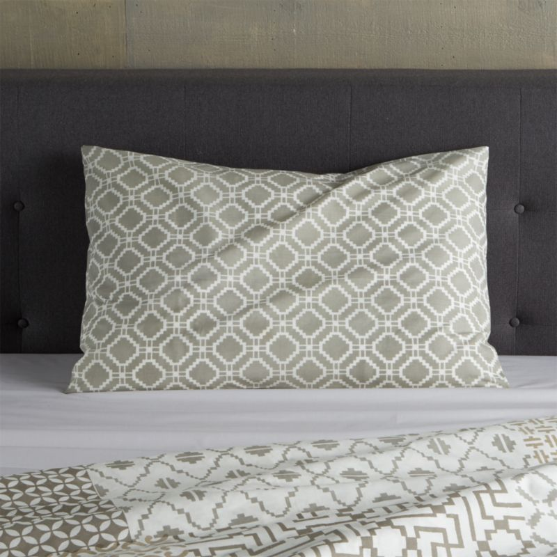 """An exquisite balance of graphic motifs is hand block-printed in a rich geometric """"patchwork"""" of soft, sophisticated neutrals. This early form of textile printing is considered one of the most artistic and time-consuming methods.<br />Bed pillows also available.<br /><br /><NEWTAG/><ul><li>100% cotton</li><li>Hand block-printed</li><li>Machine wash, tumble dry low</li><li>Made in India</li></ul>"""