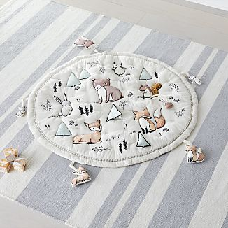 Woodland Animals Baby Activity Mat With Animal Rattles Set Of 5