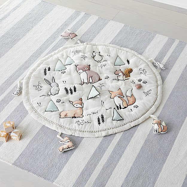 Woodland Animals Baby Activity Mat With Animal Rattles
