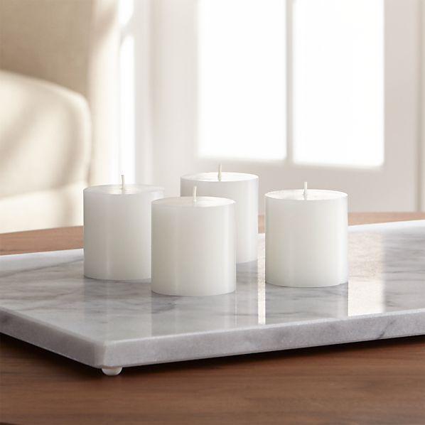 Set of 4 Mini White Pillar Candles