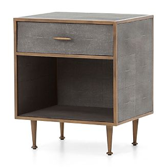 Ordinaire Antique Brass Shagreen Nightstand
