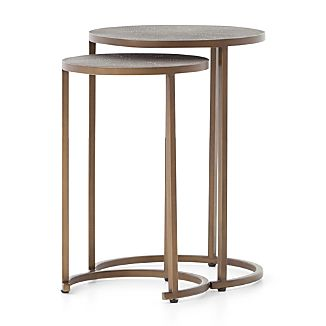 Nesting tables crate and barrel shagreen antique brass nesting accent tables watchthetrailerfo