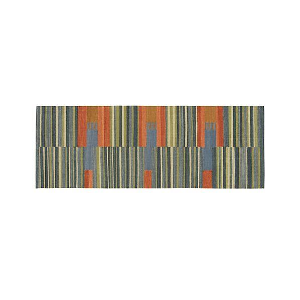 Sharif Striped Wool Dhurrie 2.5'x7' Rug Runner