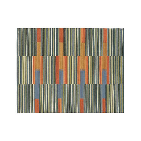 Sharif Striped Wool Dhurrie 8'x10' Rug