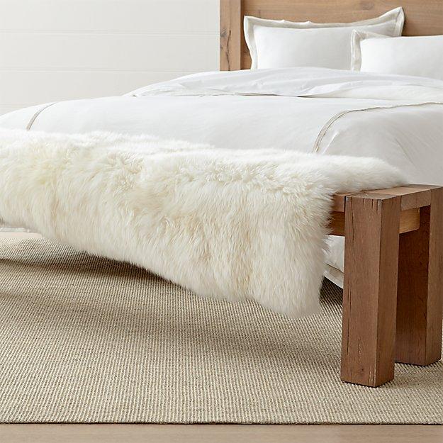Sheepskin Ivory Bench Throw - Image 1 of 8