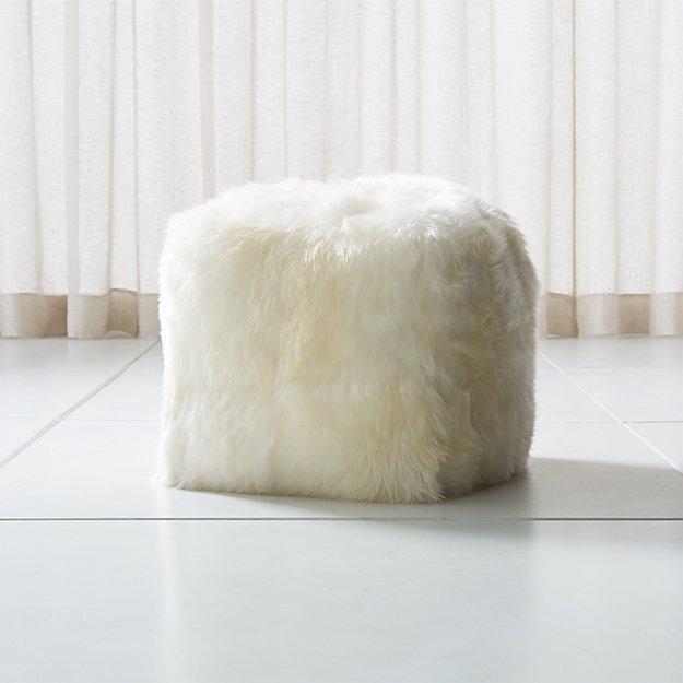 Sheepskin Ivory Square Pouf