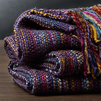 Shelby Plum Purple Striped Throw