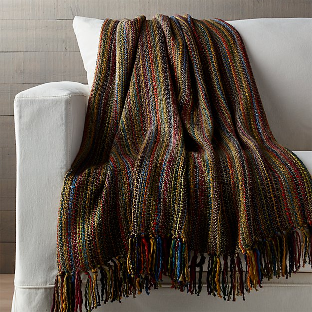 Shelby Sage Green Striped Throw Crate And Barrel