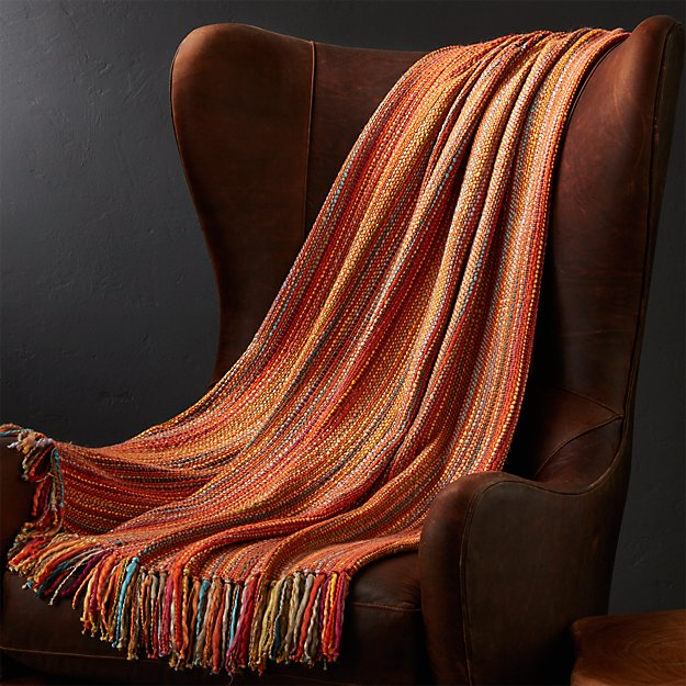 Shelby Orange Throw Blanket Crate And Barrel