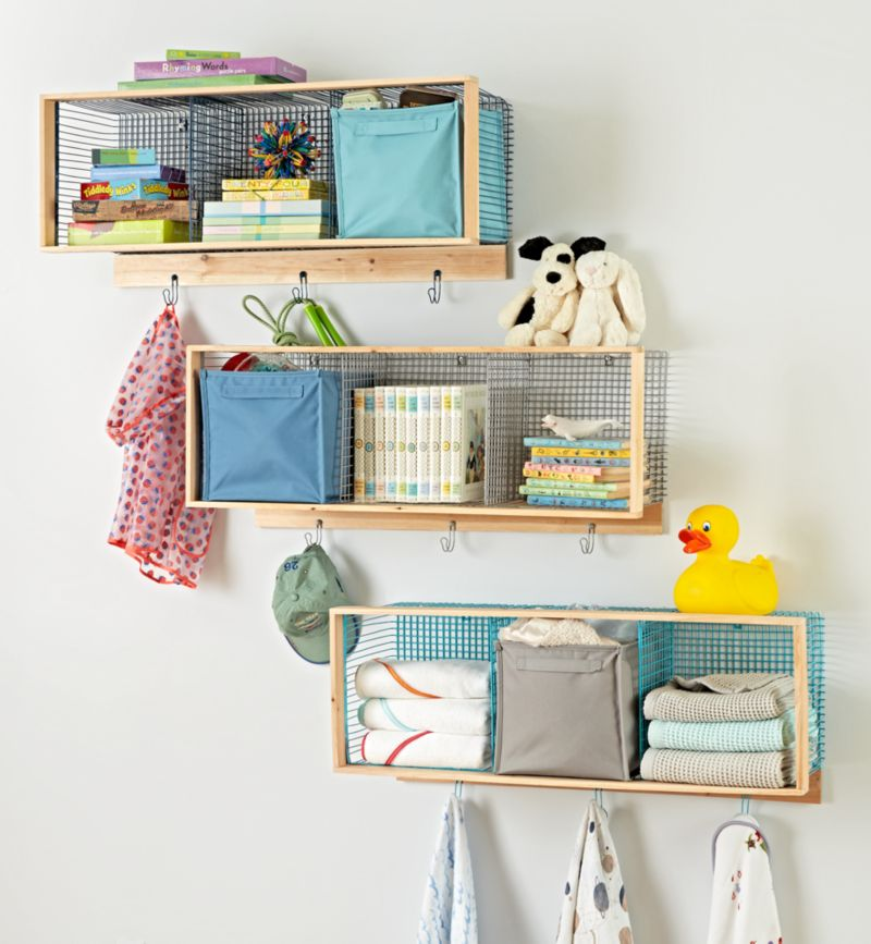 Wood and Wire 3-Cube Shelf | Crate and Barrel
