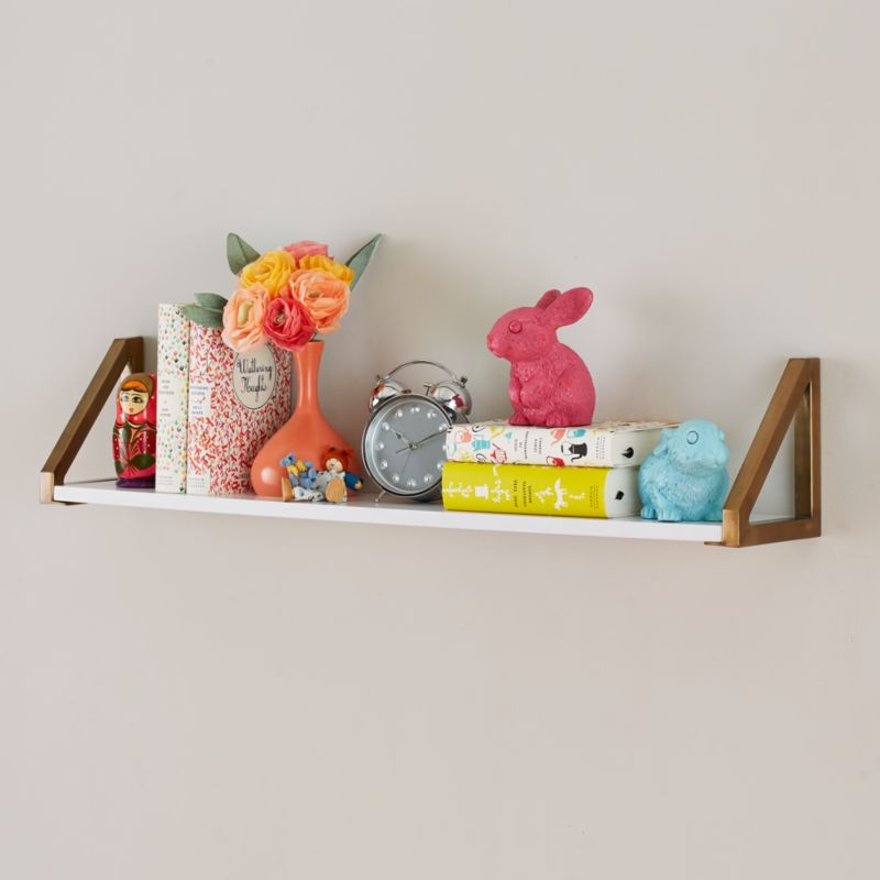 White Wall Shelf With Gold Brackets Crate And Barrel