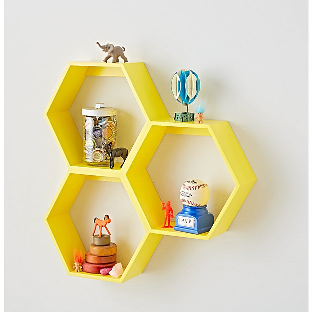 Honeycomb Yellow Hexagon Shelf Reviews Crate And Barrel