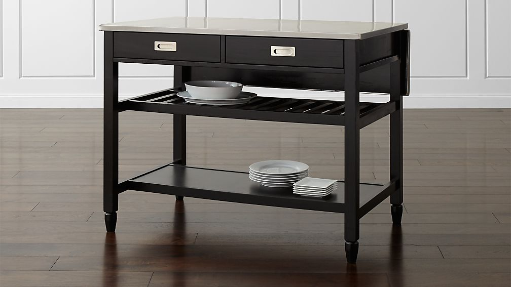 sheridan black kitchen island reviews crate and barrel - Black Kitchen Island