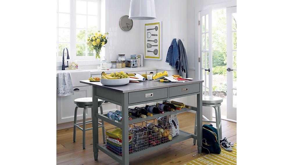 Sheridan Grey Kitchen Island Reviews Crate And Barrel - Kitchen island crate and barrel