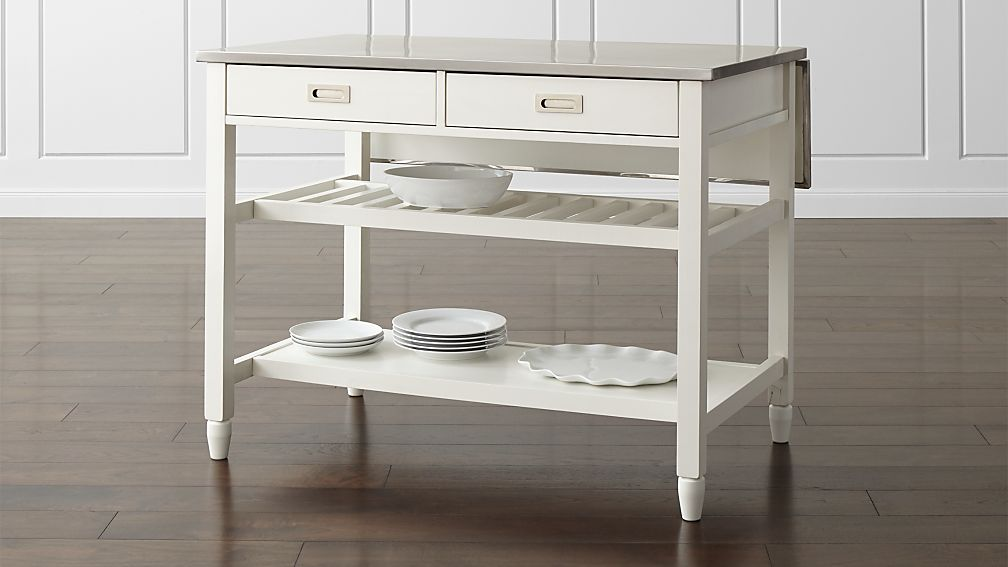 White Kitchen Island sheridan white kitchen island | crate and barrel