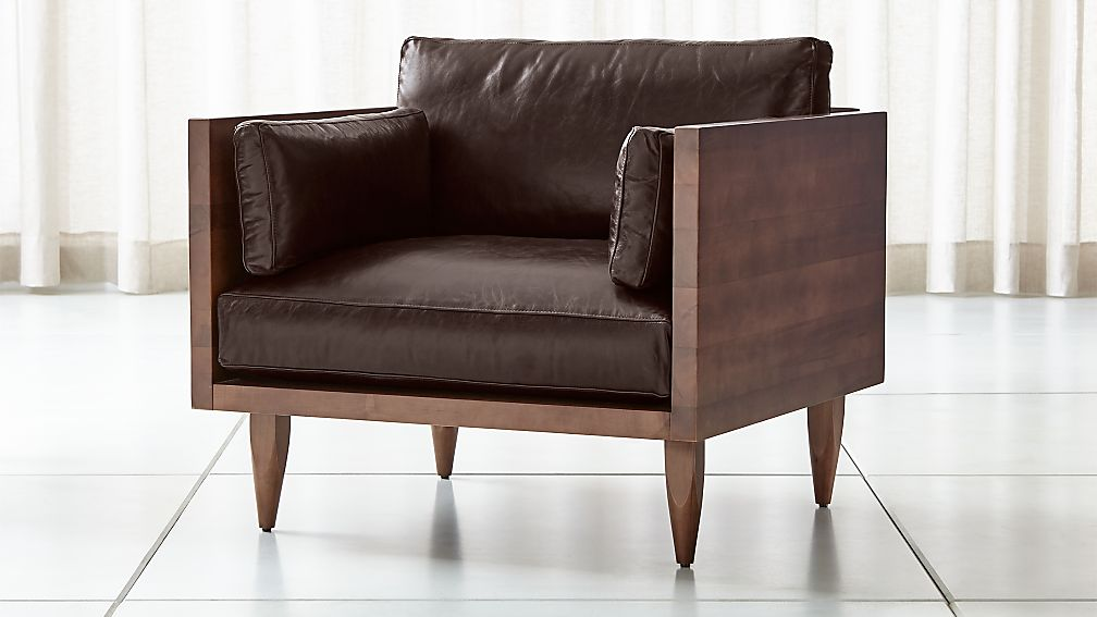 Sherwood Leather Exposed Wood Frame Chair - Image 1 of 7