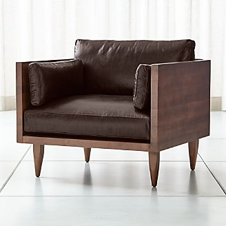 Sherwood Leather Exposed Wood Frame Chair