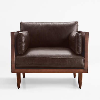 View testSherwood Leather Exposed Wood Frame Chair