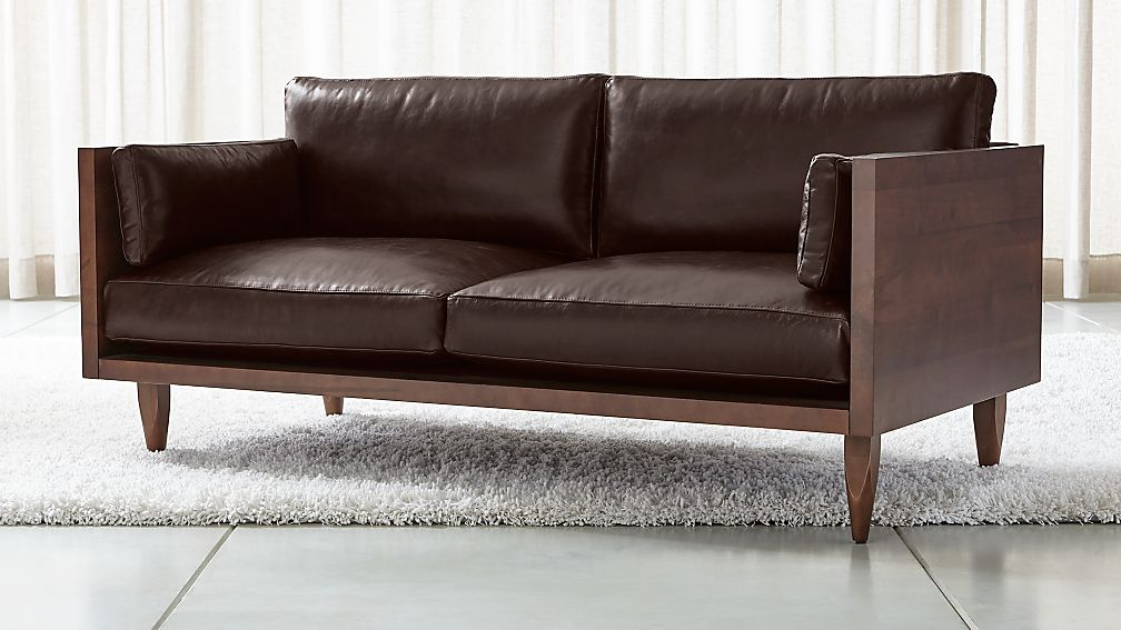 Sherwood Leather Exposed Wood Frame Loveseat + Reviews | Crate and ...