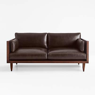 View testSherwood Leather Exposed Wood Frame Loveseat