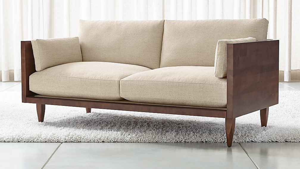 Sherwood Exposed Wood Frame Loveseat + Reviews | Crate and Barrel